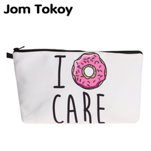 Jom Tokoy New fashion cosmetic organizer bag donuts Heat Transfer Printing Cosmetic Bag Fashion Women Brand makeup
