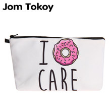 Jom Tokoy New fashion cosmetic organizer bag donuts Heat Transfer Printing Cosmetic Bag Fashion Women Brand makeup bag(China)