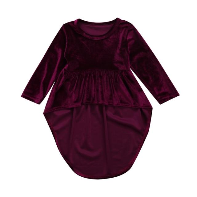 תינוקות בנות תינוק נסיכה סימטרית שמלת רטרו שרוול ארוך ילדי שמלת קטיפה זהב Pleuche שמלות 0-3Y
