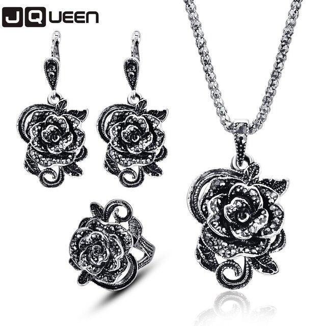 Brand Rose Flower Black Crystal Necklace/Earrings/Ring Jewelry Set Black Plating