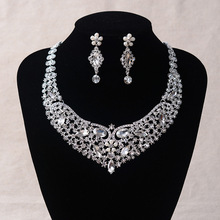 New Arrival Fashion Gorgeous Rhinestone Wedding Bridal jewelry sets Crystal Clip Needle earring jewelry set for Women