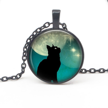 Top Charm Black Cat Moon Round Cartoon Pendant Necklace Fashion Mens Womens Accessories Long Children Favorite Gifts