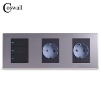 Coswall 16A EU Standard Wall Double Socket 3 Gang 1 Way Light Switch With LED Indicator