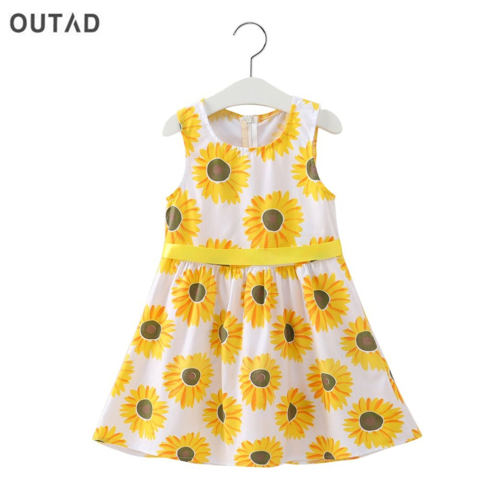 Summer Baby Girls Dress Cotton Sunflower Printed Sleeveless O Neck Bow Decor Children Clothing Girl Party A Line Dress Vestidos
