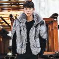 2016 Winter Men Faux Mink Fur Hooded Faux Fox Fur Coats Male Patchwork Zipper Fur Outerwear Casual Plus Size Fur Jacket 4XL W861