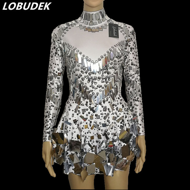 Blanc peau noire couleur Paillettes Brillantes une pièce robe sexy femme  costumes chanteuse danseuse discothèque bar 31f04812eca