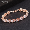 FEILANG New Arrival Rose Gold Plated Fashion Bridal Bracelets With Sparkling CZ Stones (FSBP104)