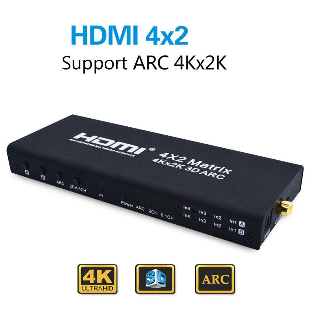 Adaptateur répartiteur HDMI Matrix 4X2 HDMI 1.4 HDMI 4 en 2 adaptateur répartiteur de sortie prise en charge 4K * 2K avec télécommande