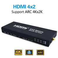 Portable HDMI Matrix 4X2 HDMI Splitter Switch 1.4 HDMI 4 in 2 out Switcher Splitter Adapter Support 4K*2K with Remote Controller