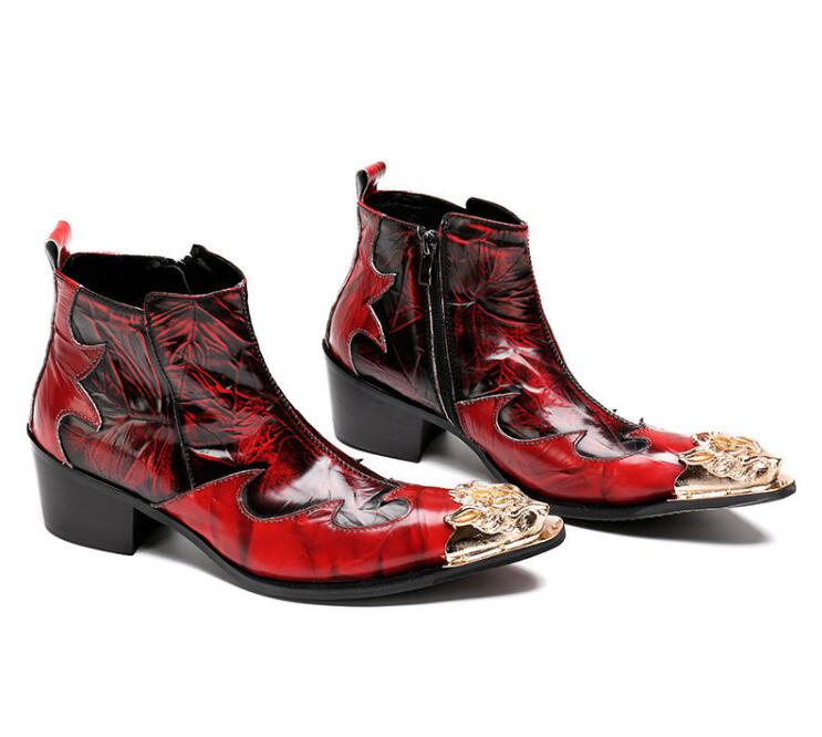 Dedo Vermelho Zipper Metal Sapatos Da Homens Cowboy As Botas Flats Militar De Neve Kaeve Tornozelo Moda Apontado Show Chinelo Outono gqf7Bqwp