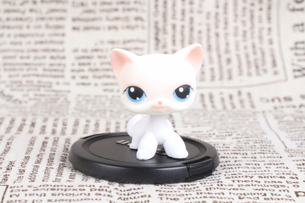 New pet Genuine Original LPS #64 Rare Pink White Short Hair Cat Kitty Blue Eyes Collection figure Toys cute pet rare color sausage short hair dog action figure girl s collection classic anime christmas gift lps doll kids toys