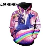 LIASOSO hoodie 3D Print homme Men women horse Harajuku rainbow cat Sweatshirt unicorn funny shirt anime Pizza dog Hoodies E306