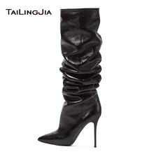 2019 Women Boots Extremely High Heel Pointed Toe Comfortable Black Knee Slouch Ladies Winter Keep Warm Plus Size Boot