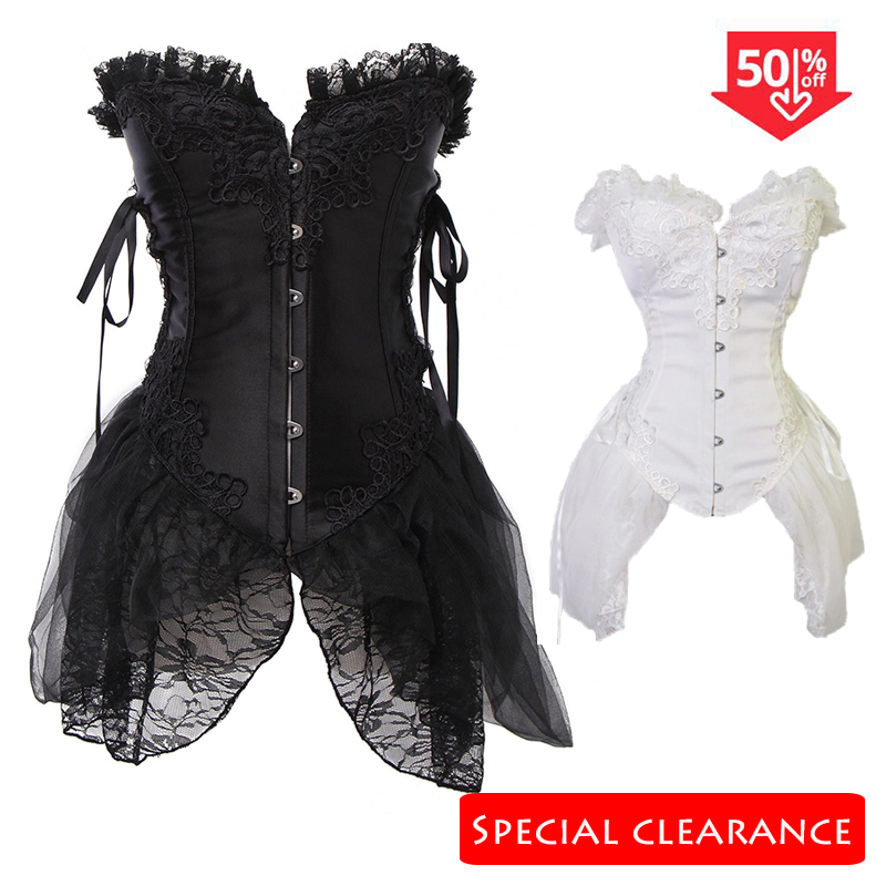 SAYFUT Sexy Steampunk   Corsets   and   Bustiers   with Skirt Sexy Gothic Overbust   Corset   Top Lace Up   Corsets   Dress plus size