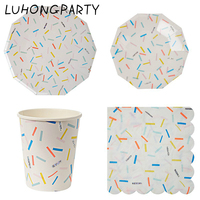 Free shipping 56pcs Colorful Sliver Stripe Foil Gilded Paper Plate Cup Napkin Party Tableware Birthday Bridal Party Decoration