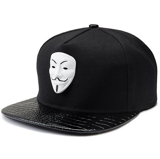 Prix pour Souvenir Édition V Pour Vendetta Masque Plat Bord Cap Coton en cuir Réglable Chapeau Snapback Gorras Hip Hop Hommes Femmes Baseball Cap
