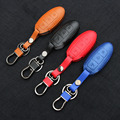 Leather Car Remote Key Holder Case Cover For Nissan Pathfinder Versa Juke Murano Murano Rogue X-Trail Qashqai Tidda ,3-Button