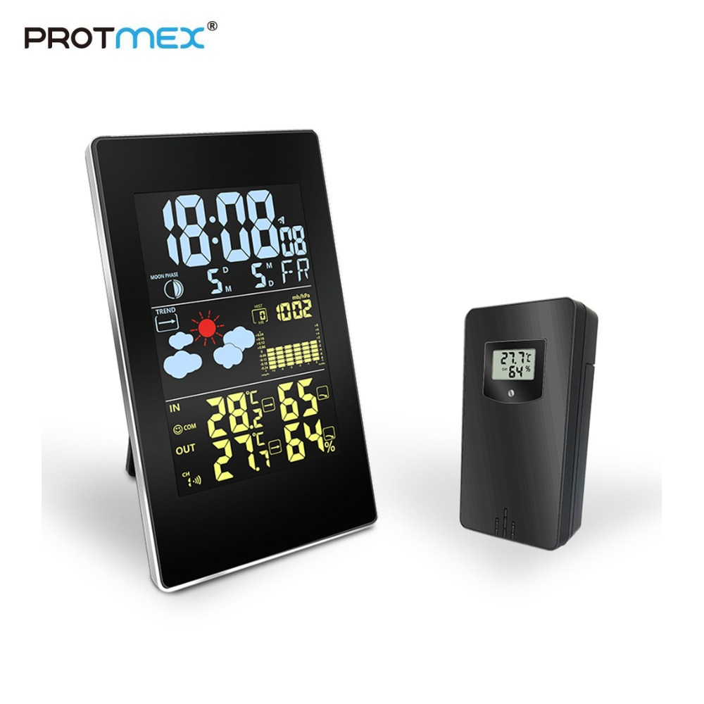 Protmex Wireless Weather Station 3352C Digital Weather Forecast Station Hygrometer LCD Color Display With Outdoor Sensor
