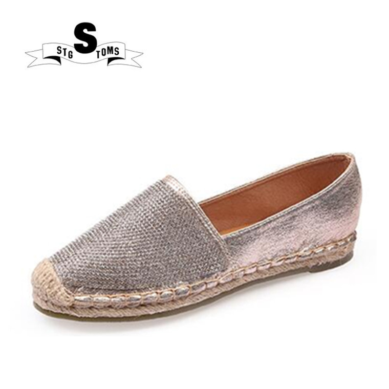 3029cc678a42 Bling women loafers cane hemp straw fisherman flat heels shoes espadrilles  woman lazy flat walking shoes