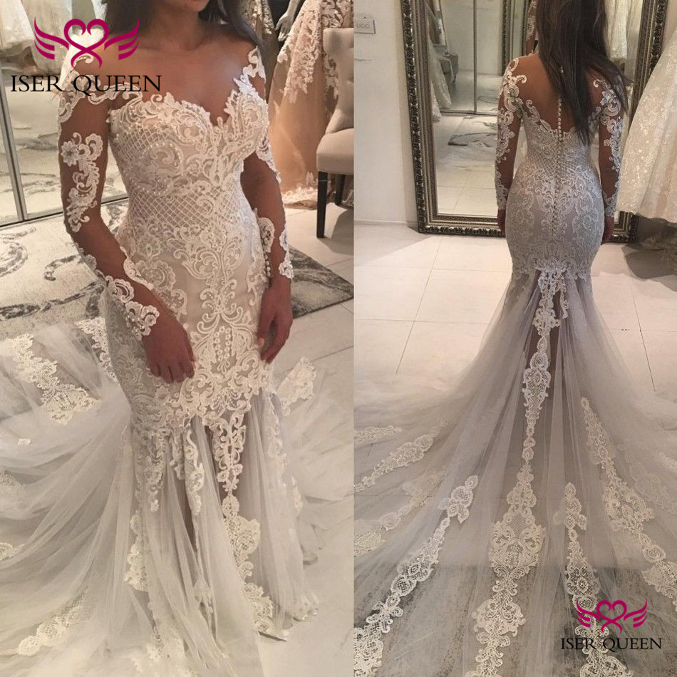 Delicate Embroidery Sweetheart Neckline  Appliques Back Design Of Button Wedding Dresses Trumpet Chapel Train With Tulle W0563