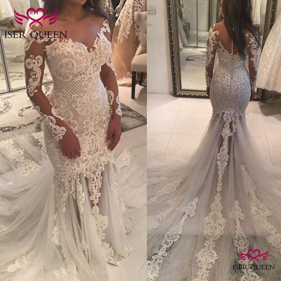 Sweetheart Neckline Appliques Mermaid Weddding Dresses 2020 Button Back Trumpet Train Quality Wedding Dress W0563