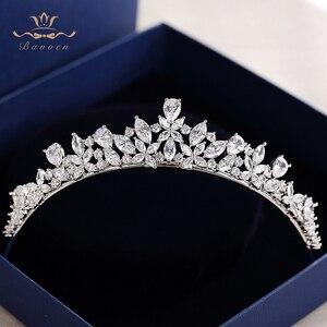 Image 2 - Bavoen Elegant Funkelnden Zirkon Bräute Diademe Kopfschmuck Überzogene Kristall Braut Kronen Stirnbänder Hochzeit Kleid Haar Zubehör