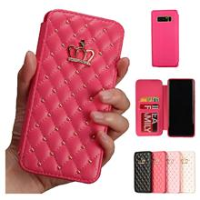 Leather Wallet For Samsung Galaxy S9 S10 Lite Plus Case Glitter Diamond Crown Queen Style Cases Flip Cover Mobile Phone Bag
