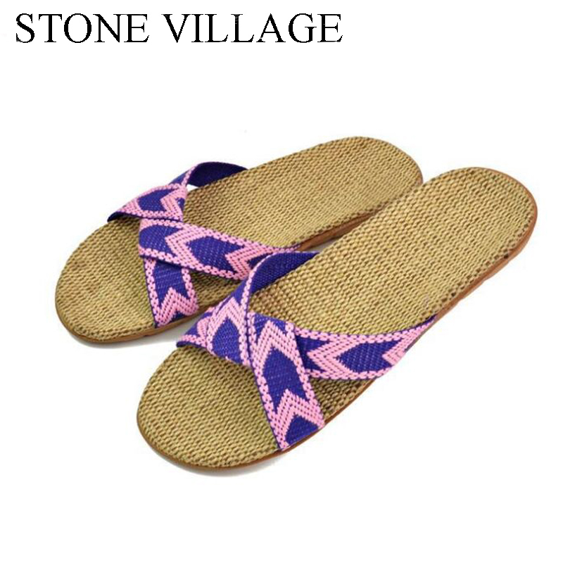 STONE VILLAGE Linen Slippers Summer Couples Ladies Home Slippers Indoor Thick-Soled Non-Slip Floor Shoes Women Slippers dreamshining summer non slip bathroom slippers men and women indoor home bath slippers candy colors couples home slippers