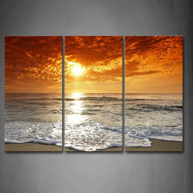 3 Piece Wall Art Painting Sunrise On The Beach Picture