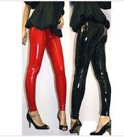 Free Shipping Womens Plus Size Sexy Black Wet Look Pvc Pants Leggings M L XL 2XL