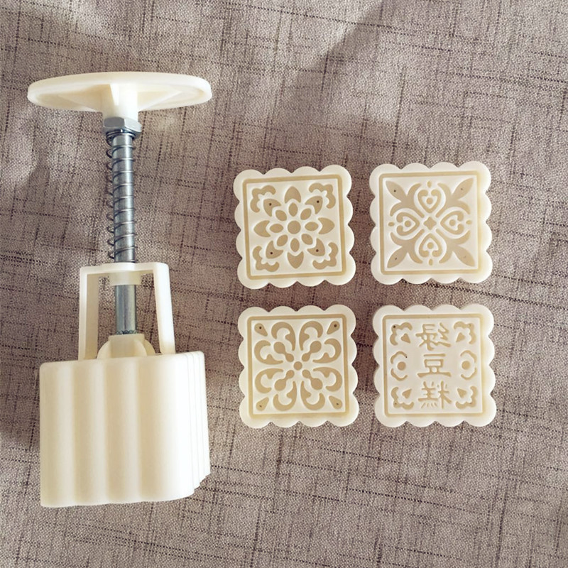 Baking Tools Plastic yue bing mo 50g Square 4 a Flower a Set Green Bean Cake Mold yue bing mo image