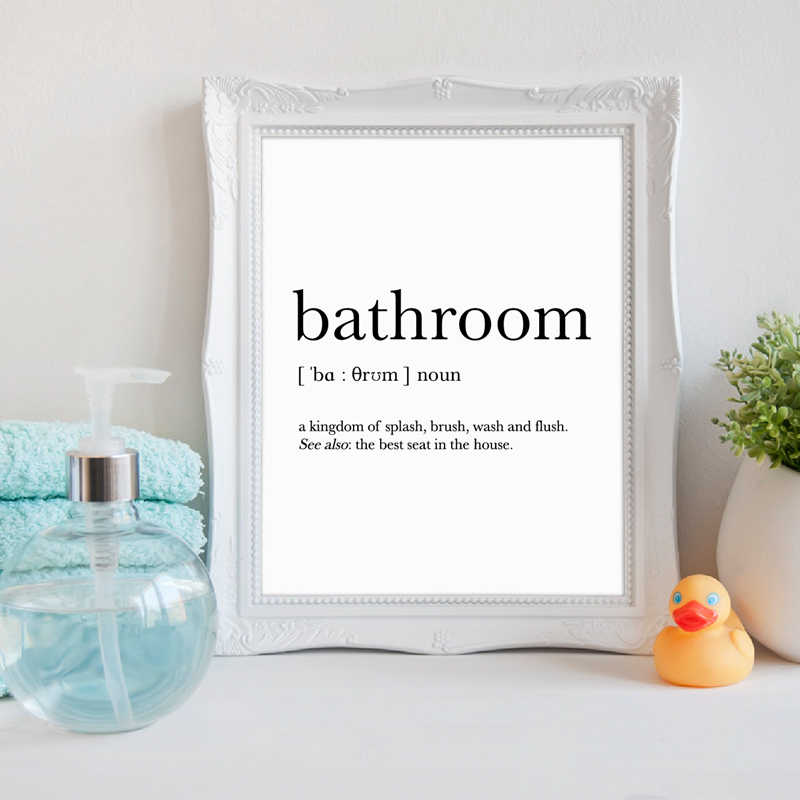 Bathroom Signs Wall Art Canvas Posters Prints Funny Bathroom Definition Quote Painting Black White Wall Picture Home Decor Painting Calligraphy Aliexpress
