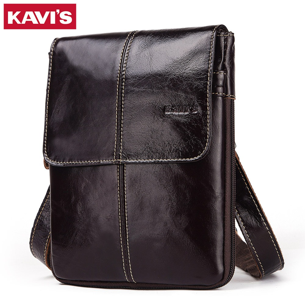 KAVIS Cow Genuine Leather Messenger Bag Small Men Shoulder Bags Vintage Crossbody Casual Bag Famous Sling