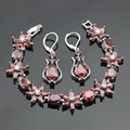 Flower Shaped Red Synthetic Garnet Silver Color Drop Earrings Bracelet Jewelry Sets For Women Christmas Free Gift Box