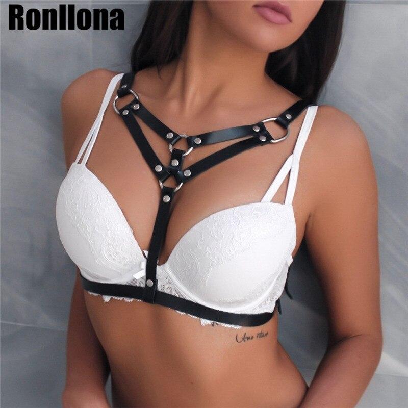 Women Sexy Leather Bra Bondage Harness Black Buckle Adjustable Belts Punk Gothic Suspender Straps Body Cage Body Harness Garters