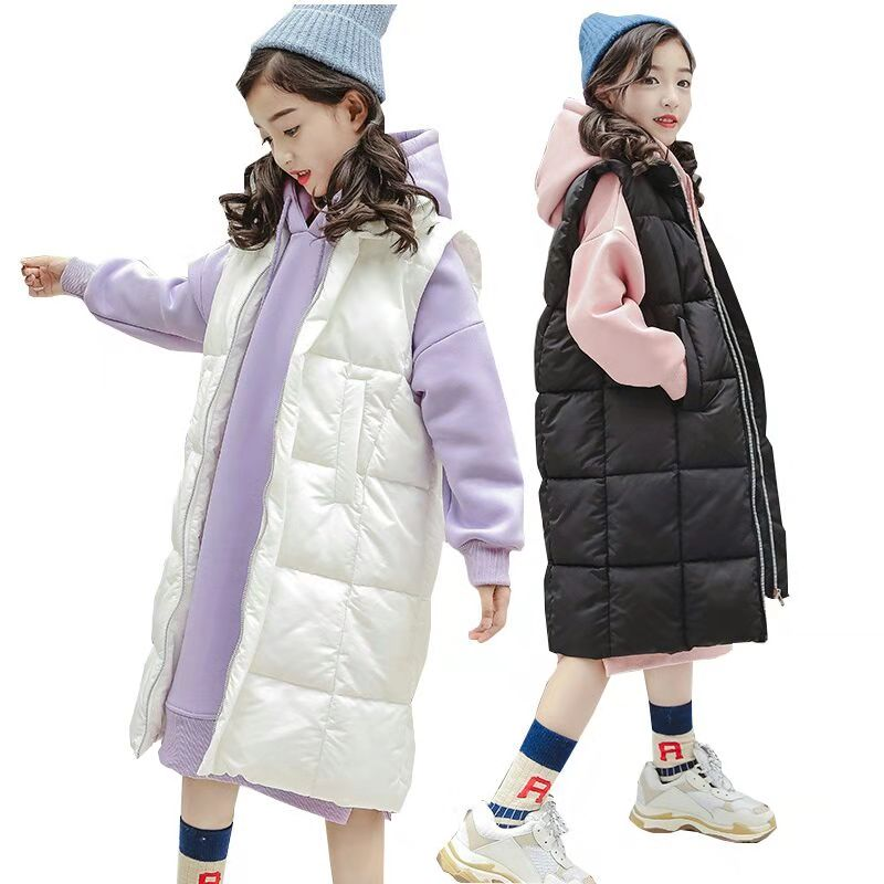 Girls Clothes Sets Winter Girls Down Jacket Vest Children Clothing Velvet Long Hoodie Kids Tracksuit Teenager Kids Costume 10 Y цены онлайн