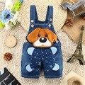 2016 лето новый стиль Мультфильм собака с большими ушами габаритные джинсы Комбинезон новорожденного ребенка короткие джинсовые комбинезоны, V1603