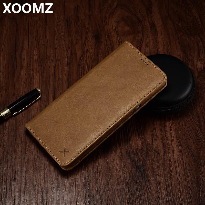 XOOMZ pour Samsung S8 housse de luxe en cuir véritable en plastique dur antichoc portefeuille carte téléphone étui pour Samsung S8 couverture Funda