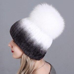 Image 2 - Chapeau en fourrure pour femmes, chapeaux russes de luxe, nouveaux chapeaux russes en fourrure de lapin véritable à rayures, livraison gratuite