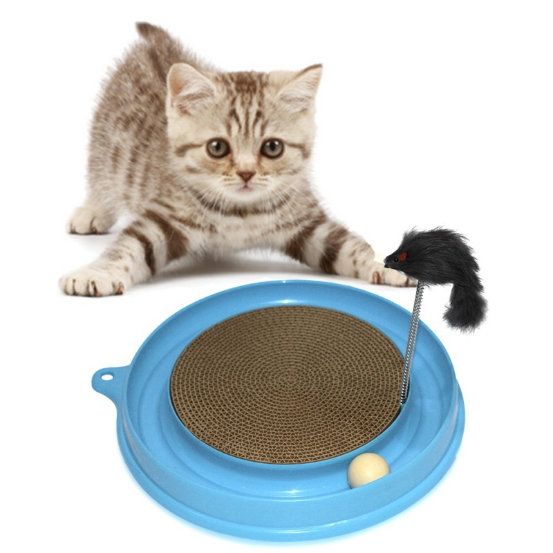 Cat Toys Round Plastic Toys For Cats Corrugated scratch board Toy For Cat Pink & Blue Durable Keep The Cat Ready