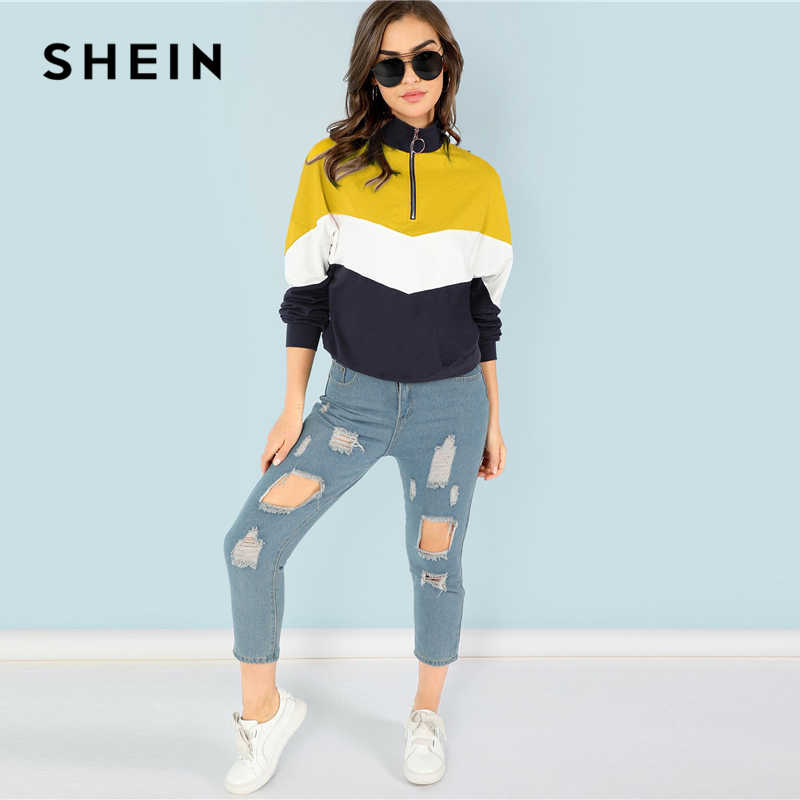 6213c4fe22c73 ... SHEIN Multicolor O-Ring Zip Front Cut and Sew Sweatshirt Casual Stand  Collar Raglan Sleeve