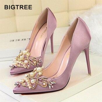 792207305 Женские туфли-лодочки bigtree со стразами обувь на высоком каблуке Женская  обувь с острым носком, украшенные кристаллами и жемчугом обувь для в.