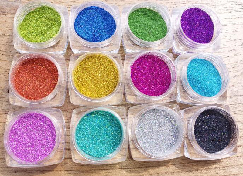 0 1mm 1 256 quot Fine Holographic Nail Glitter Set 12color Powder Shining UV Gel Polish Acrylic Glitter Nail Art Decorations Set 1g in Nail Glitter from Beauty amp Health