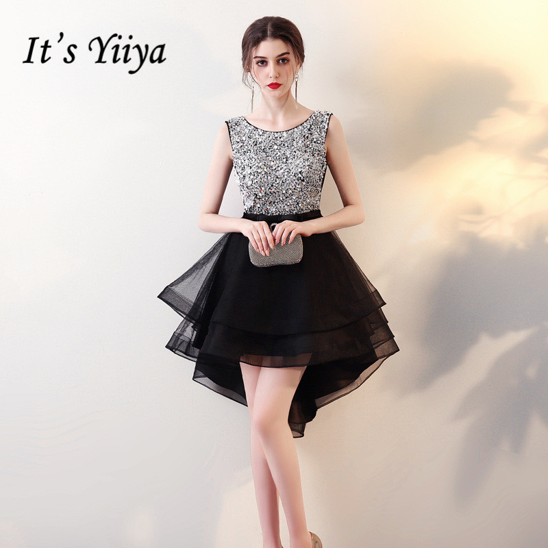 It's YiiYa Sex O-neck Sequined Bling High-low Vintage Zipper Tea Length Formal Dresses Party Full Dress Vintage Porm Gown LX076