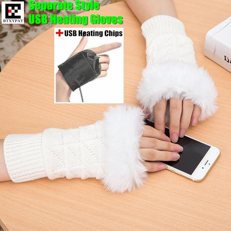 120p Winter Warm Girl Students Homework Separate Style USB Heating Gloves,Women Hand Back Heated Faux Fur Knit Fingerless Gloves