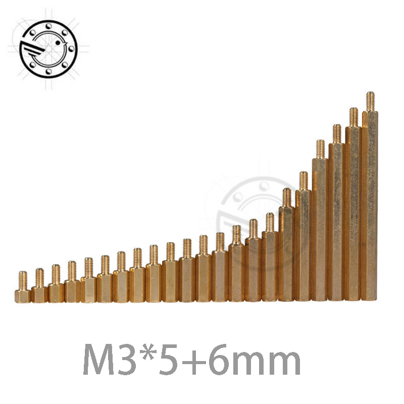 100pcs M3 Male 6mm x M3 Female 5mm Brass Standoff Spacer M3 5+6 Copper Hexagonal Stud Spacer Hollow Pillars 20 pcs m3 x 20mm x 26mm male to female pcb hexagonal nut standoff spacer