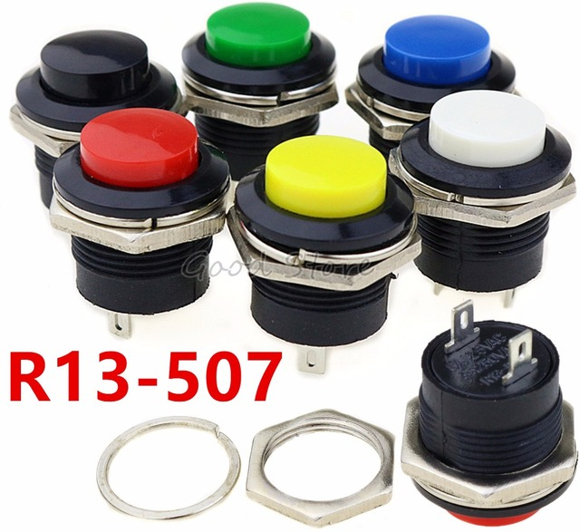 6 個R13 507 瞬間的なspst no赤黒白黄緑、青ラウンドキャッププッシュボタンスイッチac 6A/125v 3A/250v 6 色