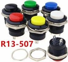6 stücke R13 507 Momentary SPST KEINE Rot Schwarz Weiß Gelb Grün Blau Runde Cap Push Button Schalter AC 6A/125V 3A/250V 6 farbe