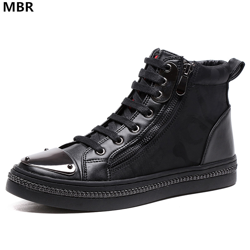 MBR Fashion Men Black zipper Genuine Leather Brand High Top Red Bottom Casual Shoes Men Flats Loubuten Shoes Size 39-44 top brand high quality genuine leather casual men shoes cow suede comfortable loafers soft breathable shoes men flats warm