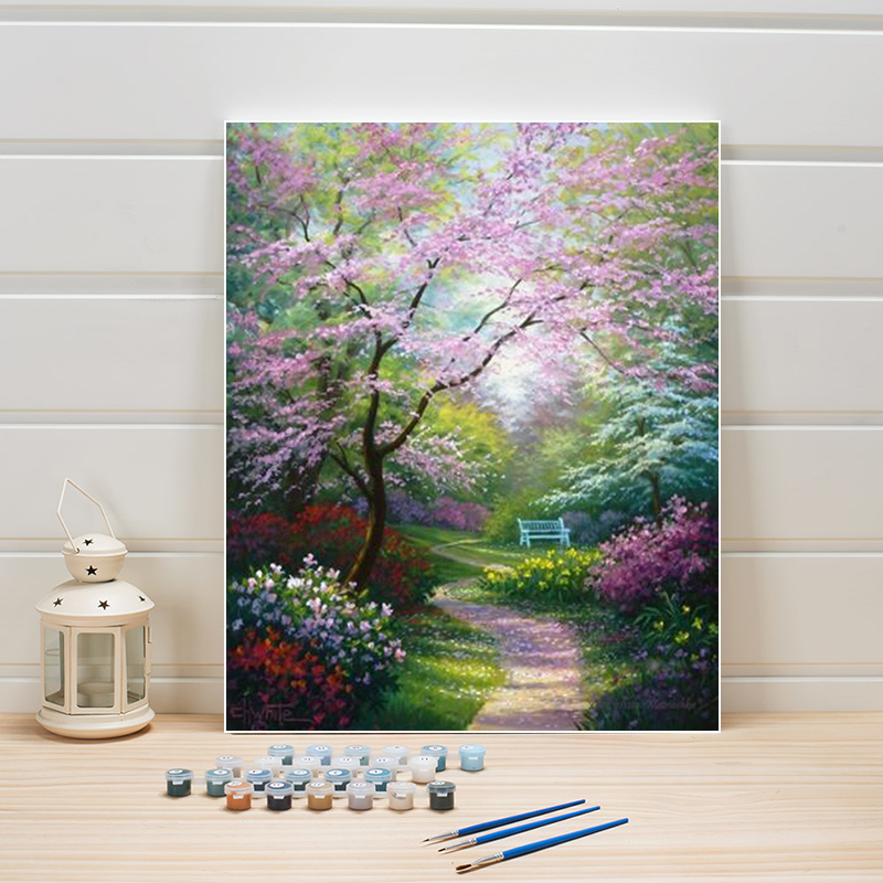 Park Scenery Picture Draw By Numbers Tree DIY Acrylic Paint Canvas Paintings Hand-painted Wall Arts For Living Room Adults 40×50
